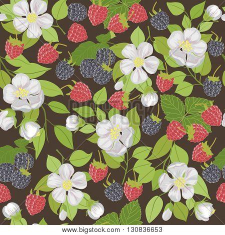 Seamless pattern with berries raspberries, blackberries, and white flowers.