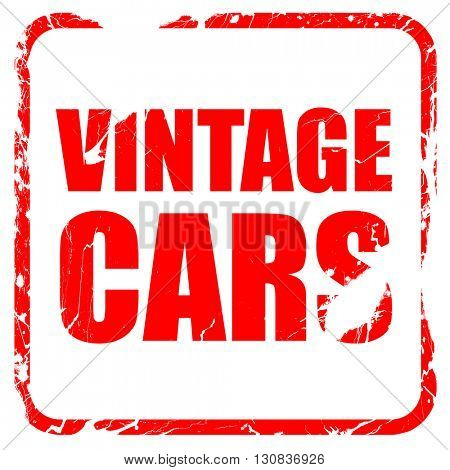 vintage cars, red rubber stamp with grunge edges