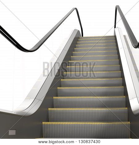 An escalator isolated on white background 3D Illustration