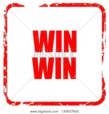 win win, red rubber stamp with grunge edges