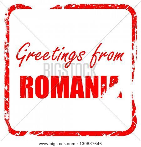 greetings from romania, red rubber stamp with grunge edges