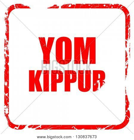yom kippur, red rubber stamp with grunge edges