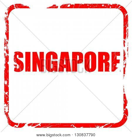 singapore, red rubber stamp with grunge edges
