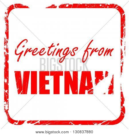 Greetings from vietnam, red rubber stamp with grunge edges