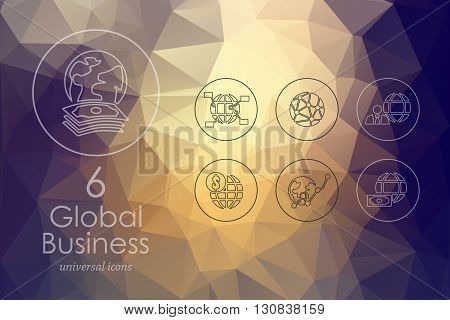 global business modern icons for mobile interface on blurred background