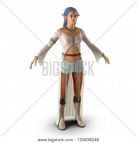 Female Elf on White Background 3D Illustration