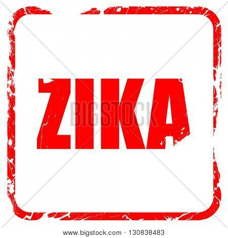 Zika, red rubber stamp with grunge edges