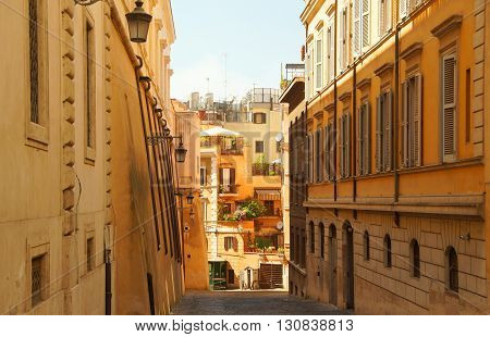 The narrow and quiet street in Rome