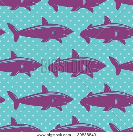 Seamless pattern with violet sharks on blue dotted background. Vector illustration.