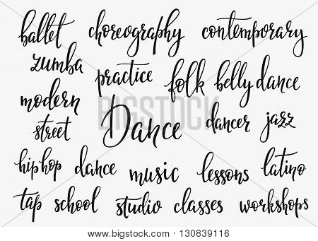 Dance studio inspiration lettering set. Graphic design lettering element. Hand written calligraphy style signs decoration typography element Cute simple vector lettering. Hand written dance quote sign