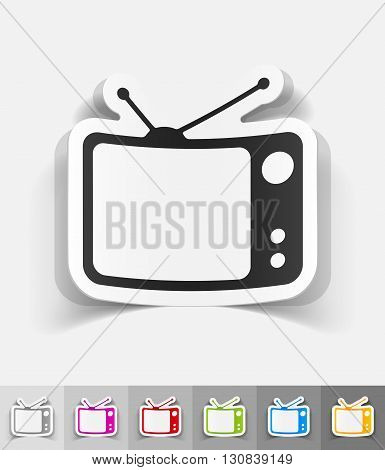 tv set paper sticker with shadow. Vector illustration