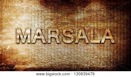 Marsala, 3D rendering, text on a metal background