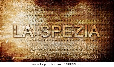 La spezia, 3D rendering, text on a metal background
