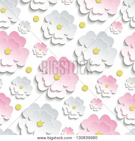 Beautiful modern nature background seamless pattern with pink and white stylized 3d flower sakura - japanese cherry tree and yellow circles cutting paper. Floral stylish trendy wallpaper. Vector illustration