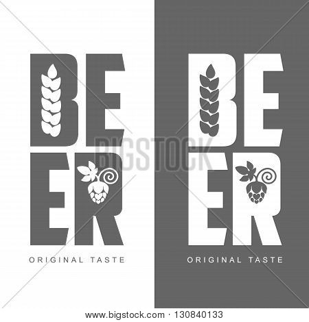 simple logo with the words Beer, vector illustration, isolated on a white background, logos Beer black and white solid color, logo with hops and barley beer label concept