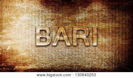 Bari, 3D rendering, text on a metal background