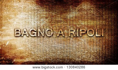 Bagno a ripoli, 3D rendering, text on a metal background