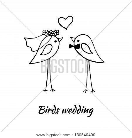 Cute birds wedding. The stylized vector image.