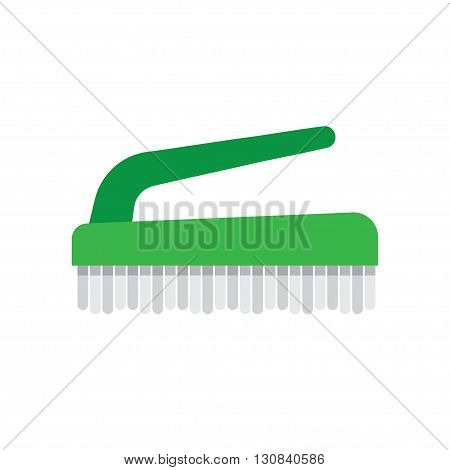 Cleaning hand brushe hygiene tool and cleaning brush hand washing house symbols. Vector cleaning brush icon flat modern design house work equipment illustration.