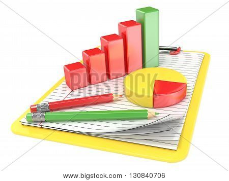 Yellow clipboard paper pencils and charts. 3D render illustration isolated on white background