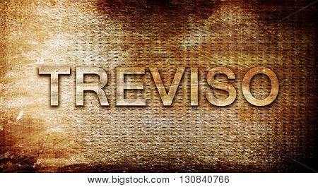 Treviso, 3D rendering, text on a metal background