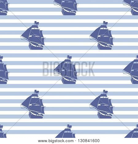 Seamless pattern with ship on striped background. Vector illustration.