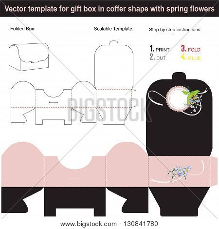 Vector template for present box in coffer shape with spring flowers