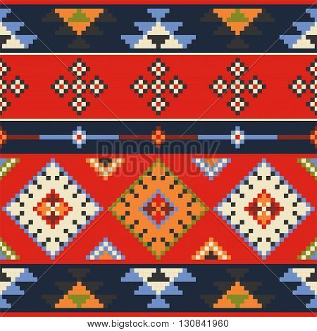 Set of vector estern europe folk seamless pattern ornaments