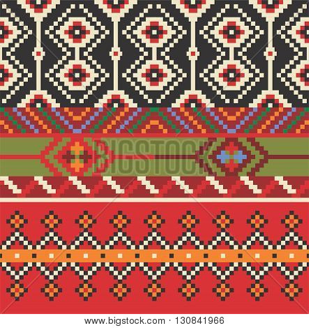 Vector illustration of estern europe folk seamless pattern background