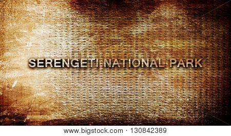 Serengeti national park, 3D rendering, text on a metal backgroun