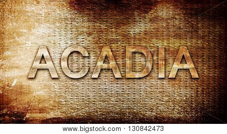 Acadia, 3D rendering, text on a metal background