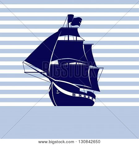 Sailing ship on strip background in the sea. Vector Illustration