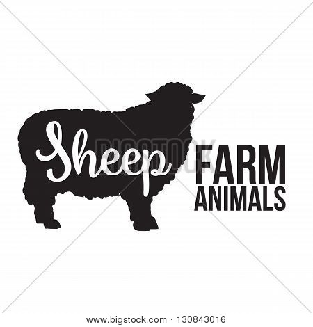 Black contour farm animal with a white lettering inscription inside, Logo sheep animal, outline for the product, illustration contour farming sheep with lettering on the mutton meat
