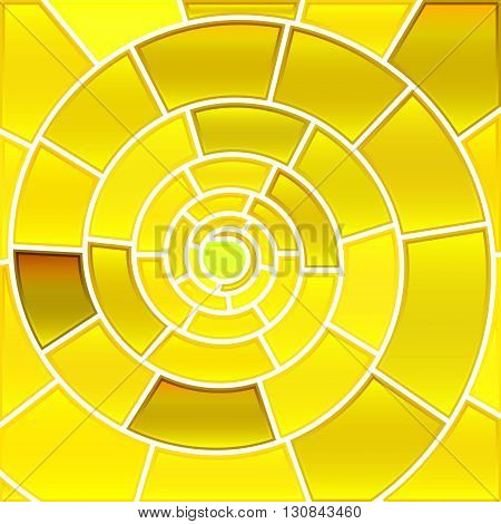 abstract vector stained-glass mosaic background - yellow spiral