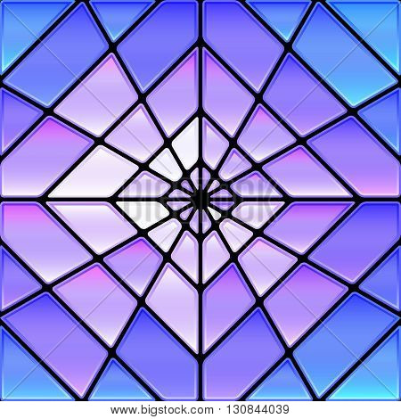 abstract vector stained-glass mosaic background - blue purple and violet rhombus