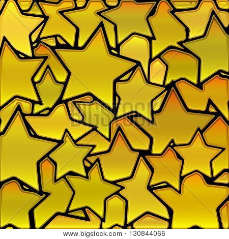 abstract vector stained-glass mosaic background - yellow golden stars