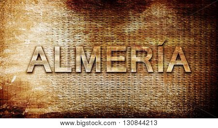 Almeria, 3D rendering, text on a metal background