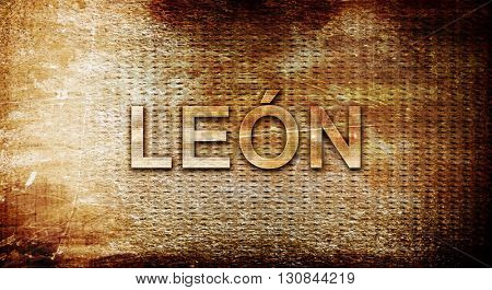Leon, 3D rendering, text on a metal background