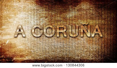 A coruna, 3D rendering, text on a metal background
