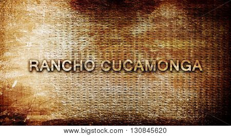 rancho cucamonga, 3D rendering, text on a metal background