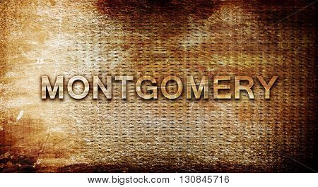 montgomery, 3D rendering, text on a metal background