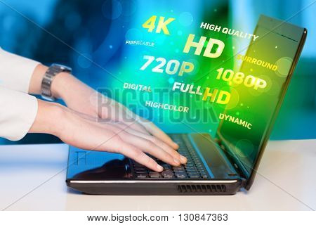 Man choosing display resolution concept
