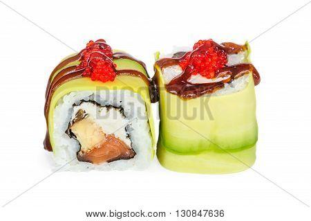 Uramaki maki sushi, two rolls isolated on white. Avocado with oyster sauce and ikura outside, philadelphia cheese, eel inside.