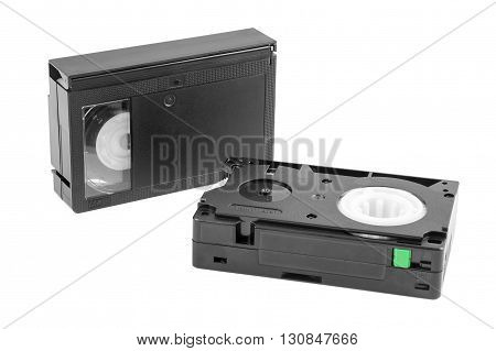 VHS-C video cassettes isolated on white background with clipping path