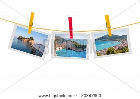 Three photos of Zakynthos on clothesline isolated on white background with clipping path