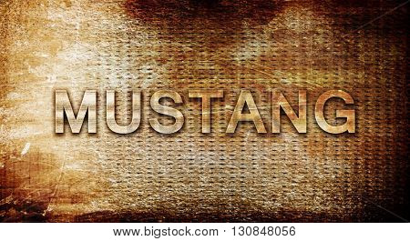 mustang, 3D rendering, text on a metal background