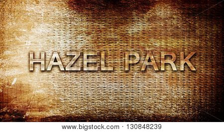 hazel park, 3D rendering, text on a metal background