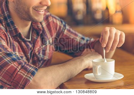 Handsome Young Man At Cafe