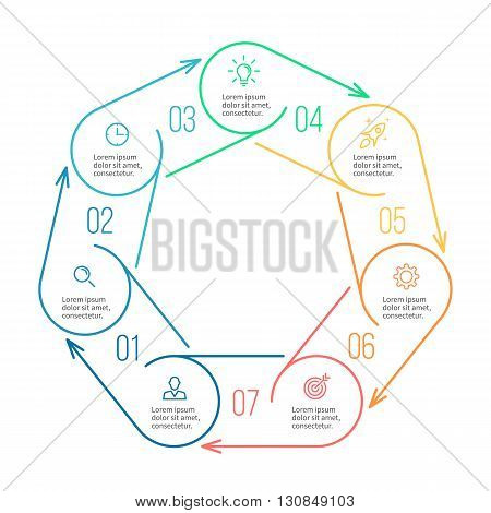 Heptagon for infographics. Minimalistic chart, diagram with 7 steps, parts. Vector design template.