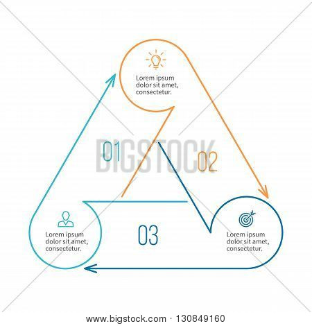 Triangle for infographics. Minimalistic chart, diagram with 3 steps, parts. Vector design template.